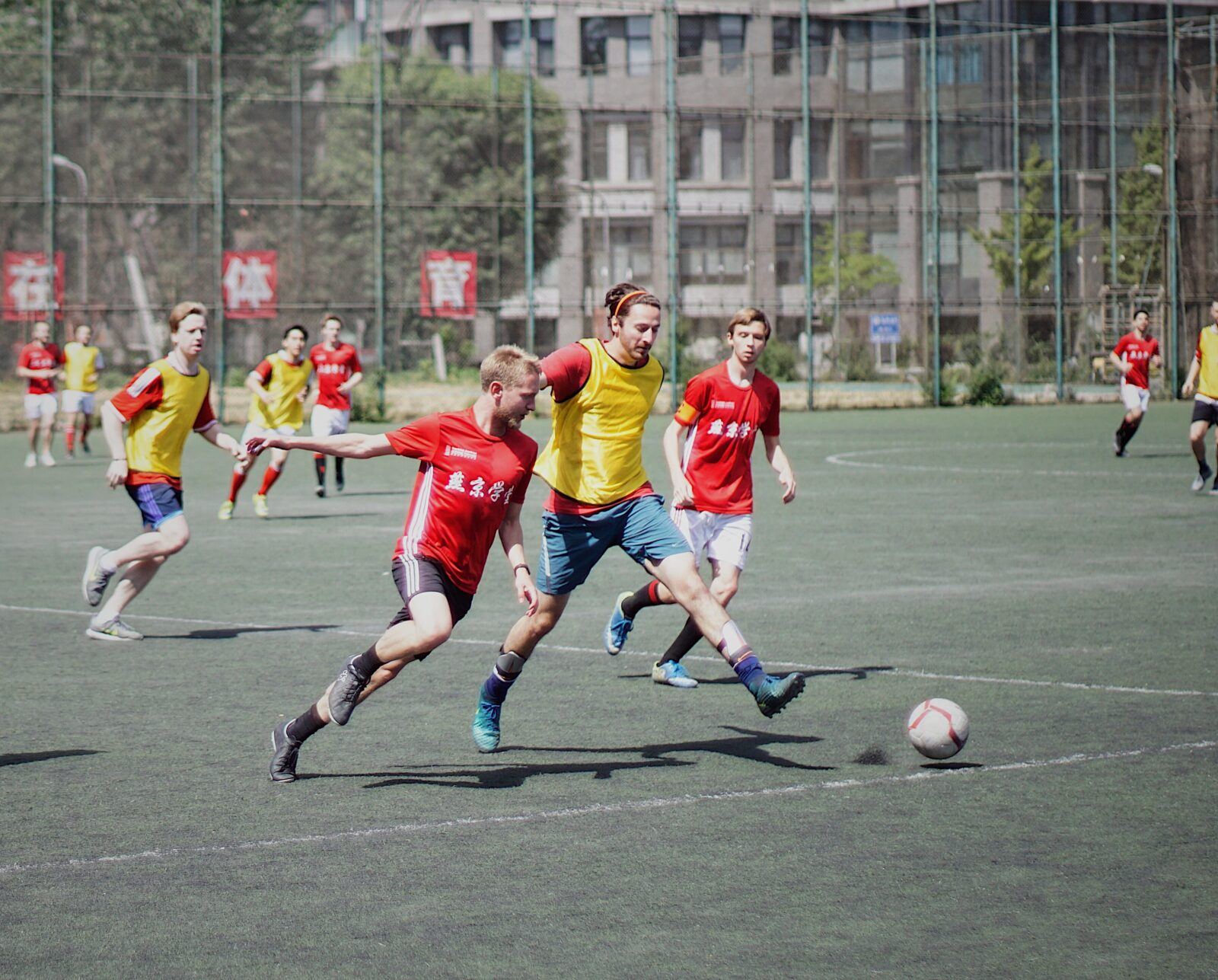 People playing football